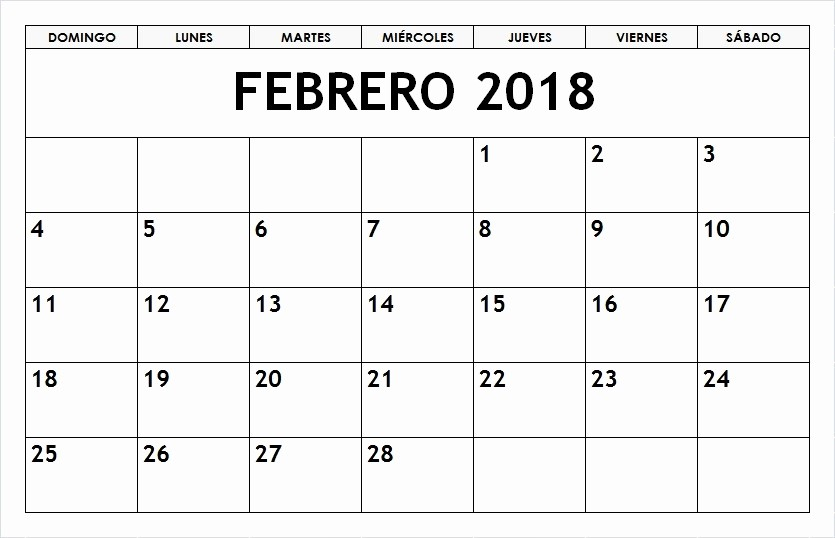 Calendario Febrero 2018 Para Imprimir Awesome Calendario 2018 Para Imprimir