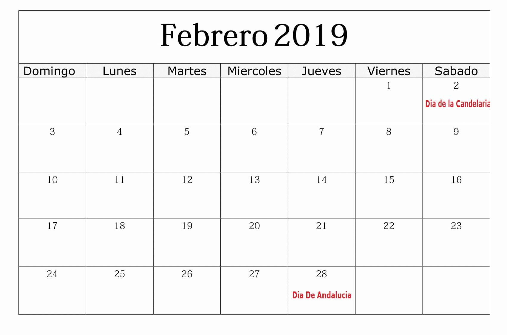 Calendario Febrero 2018 Para Imprimir Awesome Calendario Febrero 2019 Con Festivos Grande – Best Reviews
