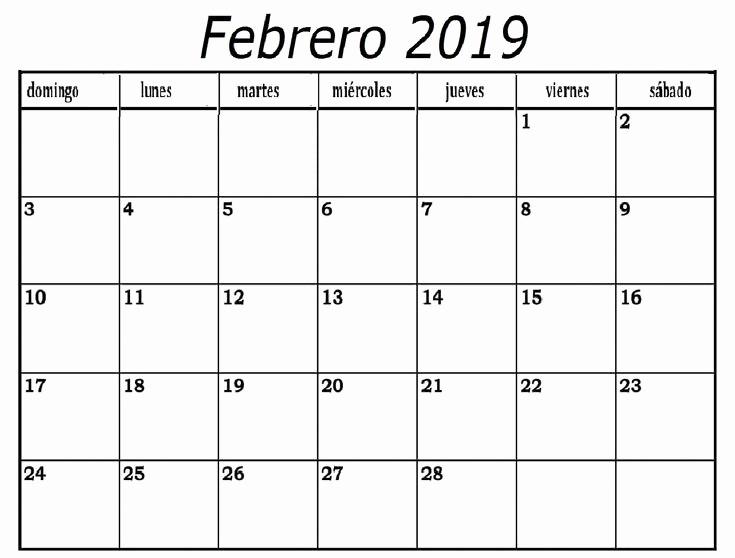 Calendario Febrero 2018 Para Imprimir Awesome Calendario Febrero 2019