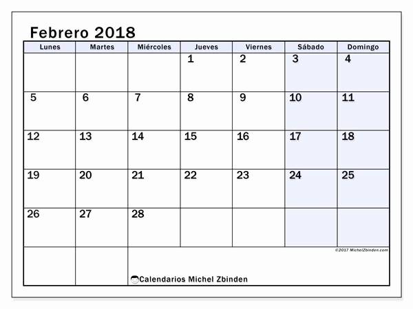 Calendario Febrero 2018 Para Imprimir Beautiful Calendarios Febrero 2018 Ld Michel Zbinden Es
