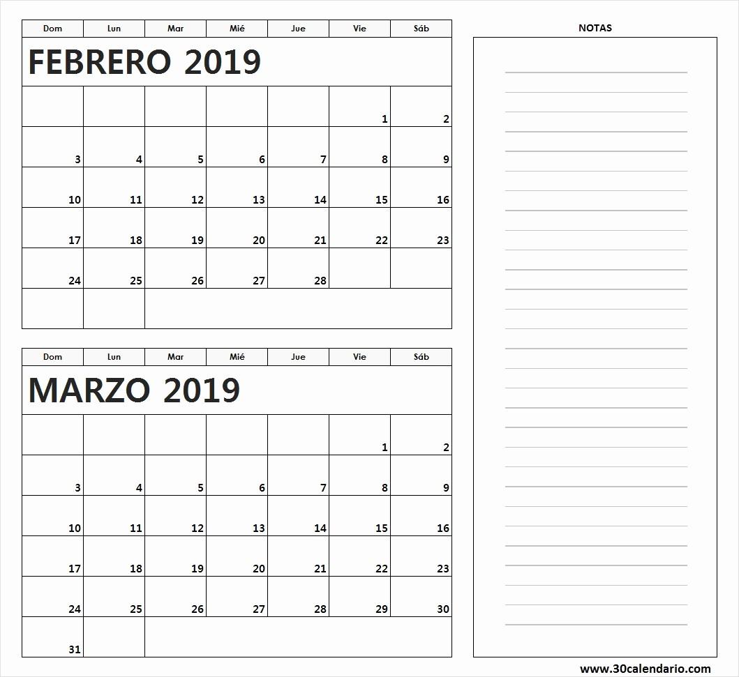 Calendario Febrero 2018 Para Imprimir Elegant Calendario Febrero Y Marzo 2019