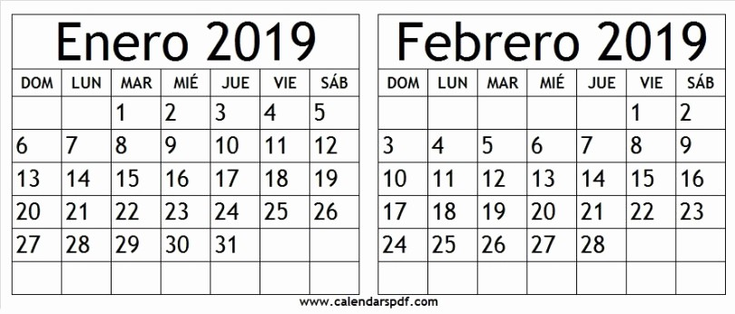 Calendario Febrero 2018 Para Imprimir Fresh Enero Febrero 2019 Para Imprimir