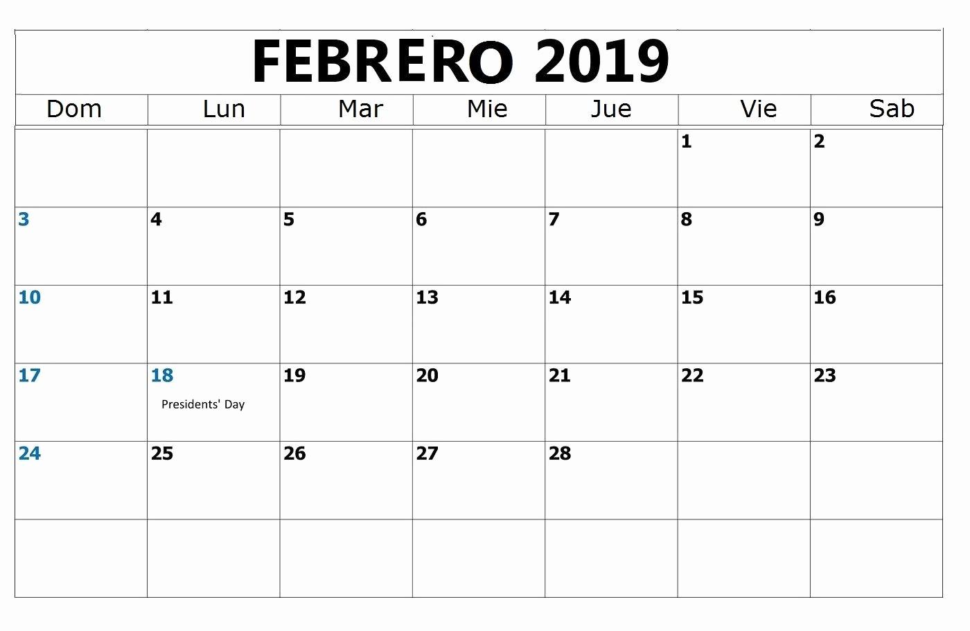 Calendario Febrero 2018 Para Imprimir Inspirational Calendario Febrero 2019