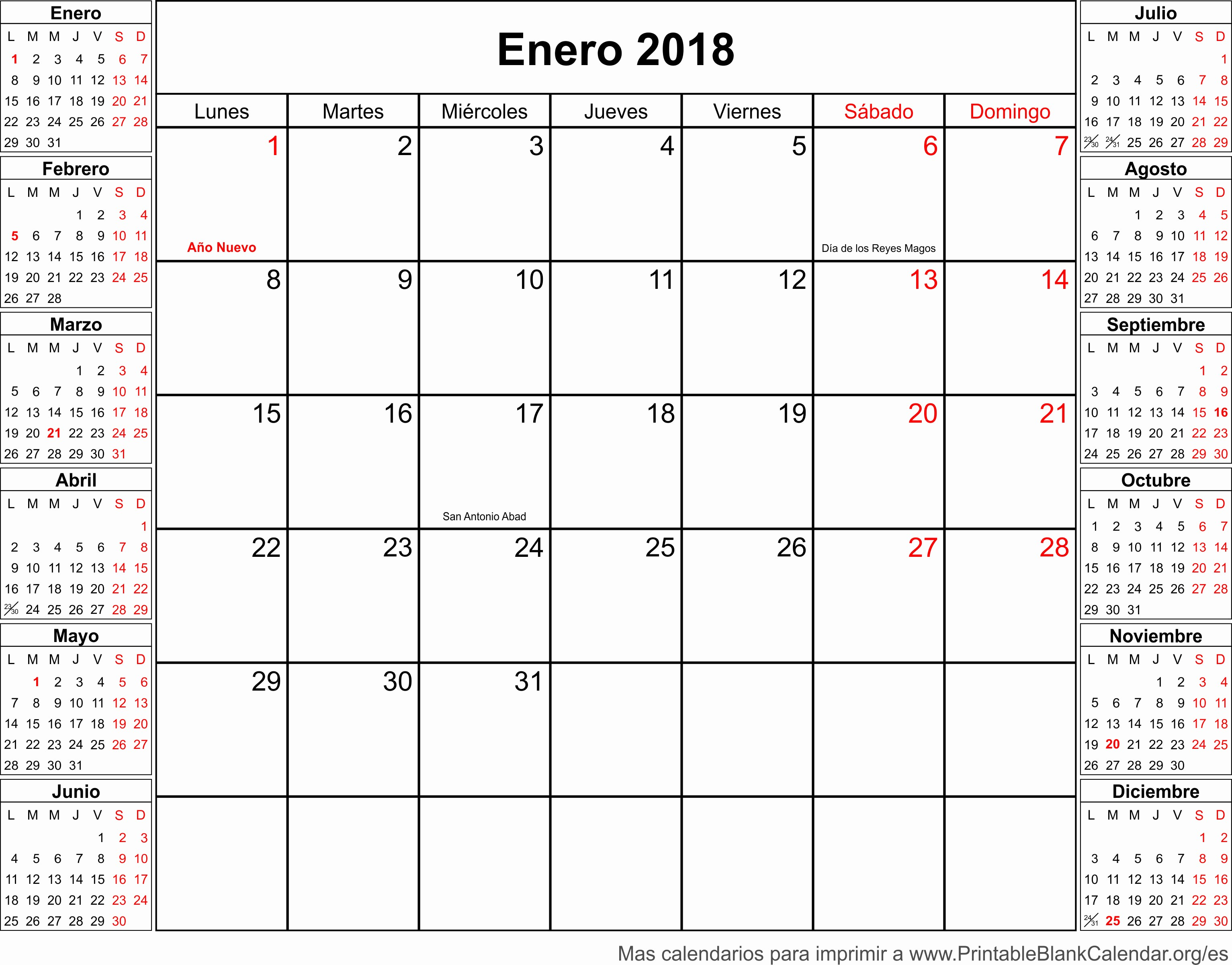 Calendario Febrero 2018 Para Imprimir Inspirational Enero Calendario 2018 Related Keywords Enero Calendario