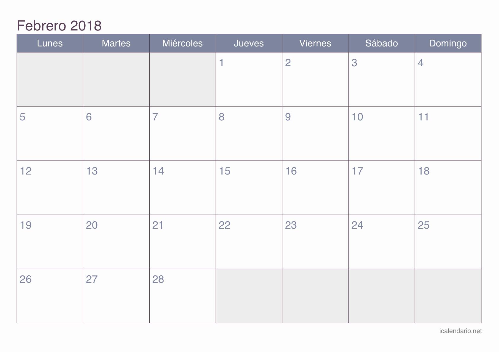 Calendario Febrero 2018 Para Imprimir Lovely Febrero Calendario 2018 Related Keywords Febrero