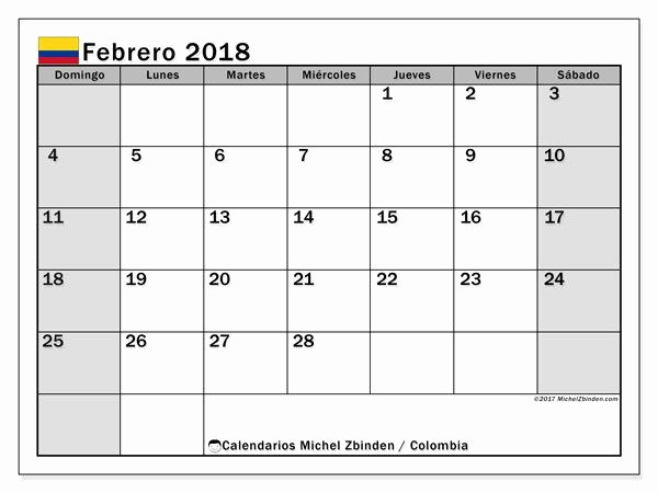 Calendario Febrero 2018 Para Imprimir Luxury Calendario Febrero 2018 Colombia Word