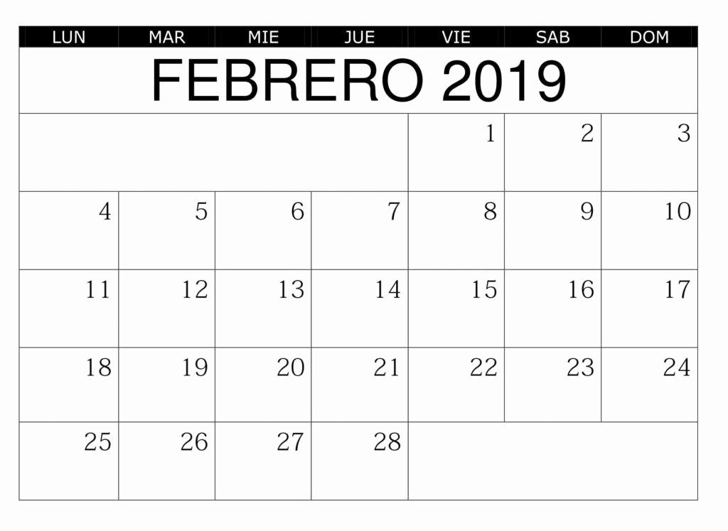 Calendario Febrero 2018 Para Imprimir Luxury Calendario Febrero 2019 Para Imprimir