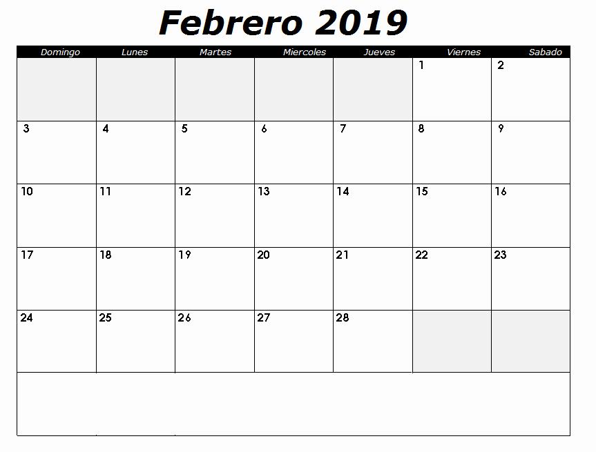 Calendario Febrero 2018 Para Imprimir New Calendario Febrero 2019