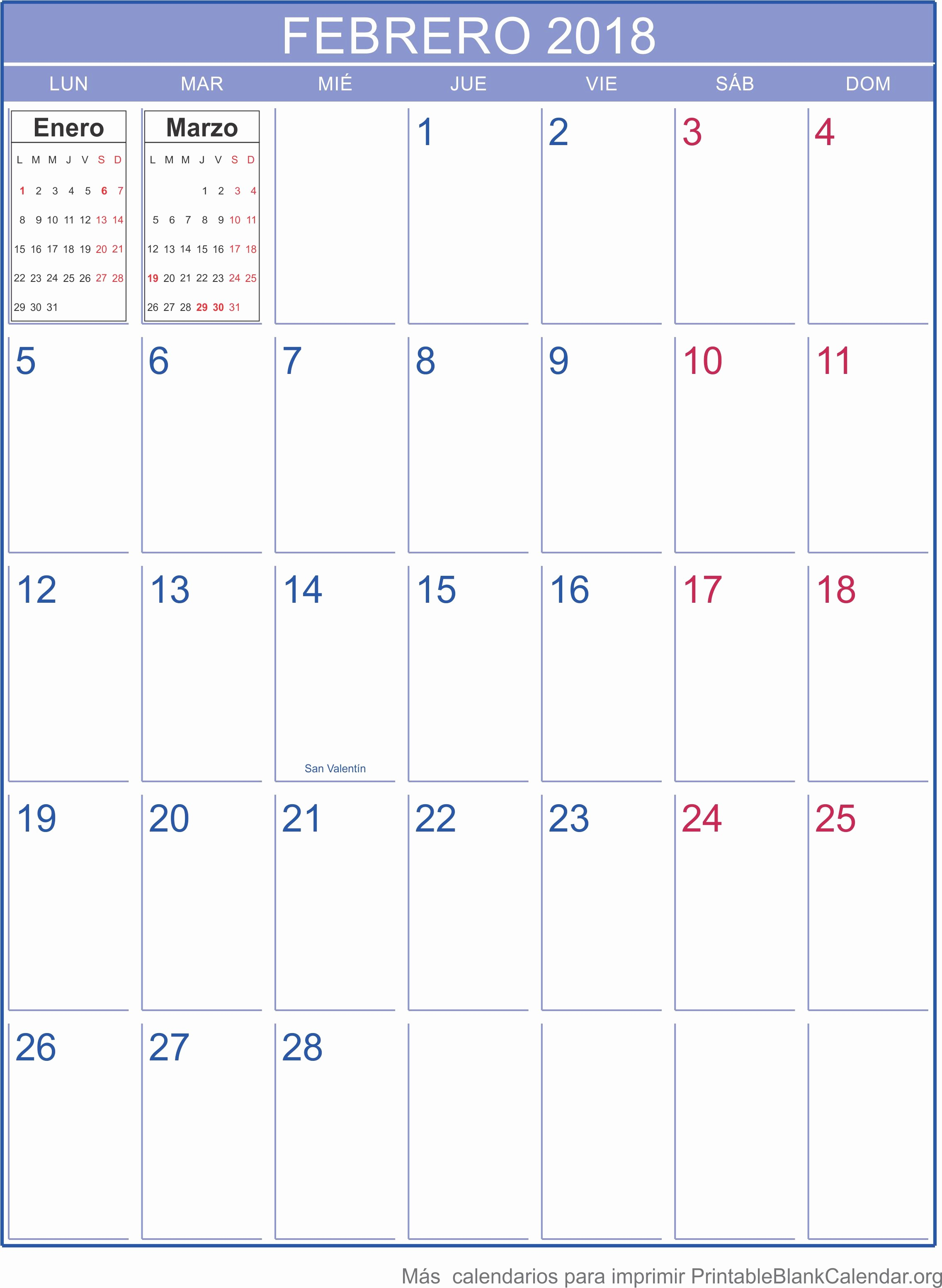 Calendario Febrero 2018 Para Imprimir New Febrero Calendario 2018 Related Keywords Febrero