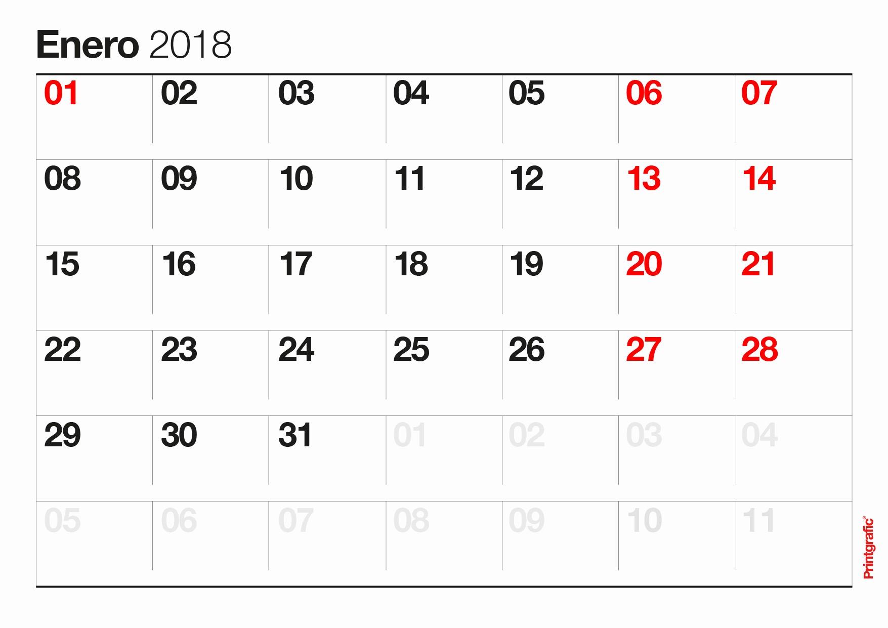 Calendario Febrero 2018 Para Imprimir Unique Enero Calendario 2018 Related Keywords Enero Calendario