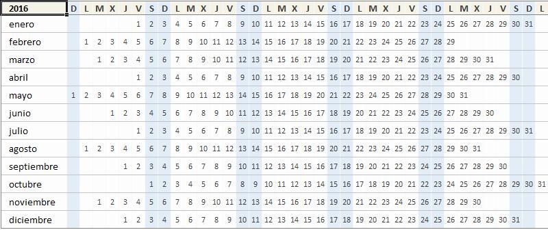 Calendario Juliano 2017 Para Imprimir Luxury Calendario Anual 2016 Excel