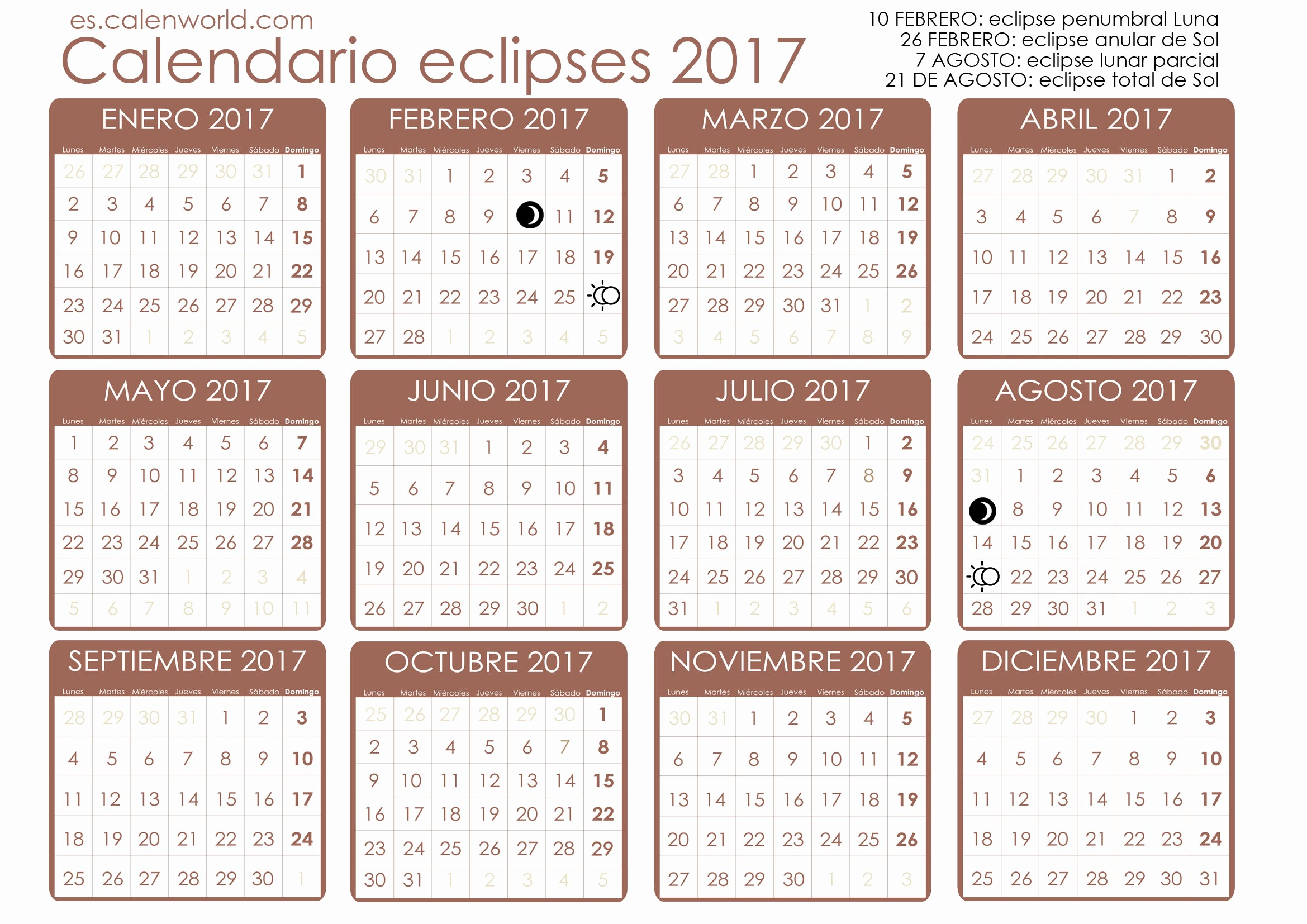 Calendario Juliano 2017 Para Imprimir Luxury Calendario De Eclipses 2017