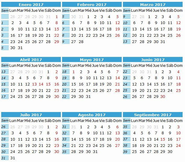 Calendario Juliano 2017 Para Imprimir New Calendario Anual 2017
