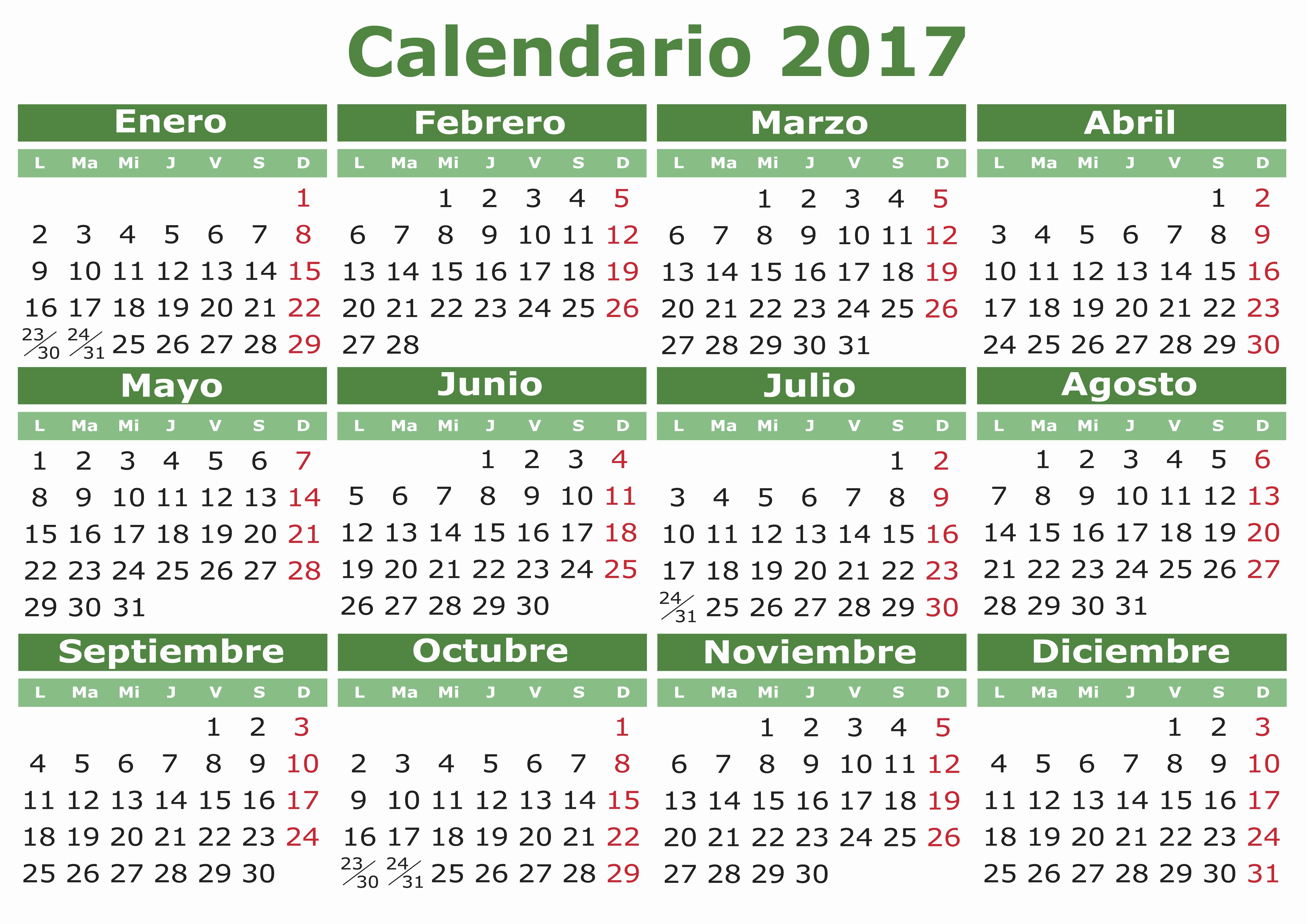 Calendario Juliano 2017 Para Imprimir New Spanish Calendar 2017 orientación andújar Recursos