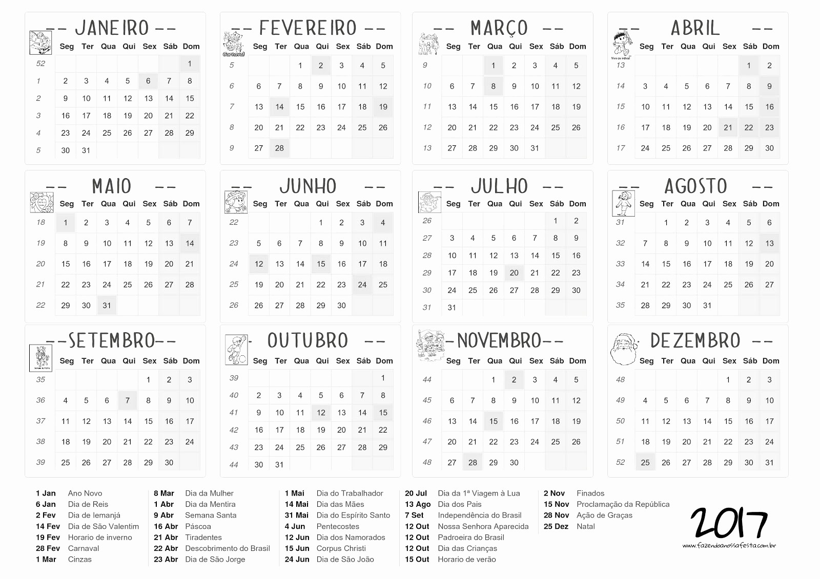 Calendario Juliano 2017 Para Imprimir Unique Calendário 2017 Imprimir E Baixar — SÓ Escola