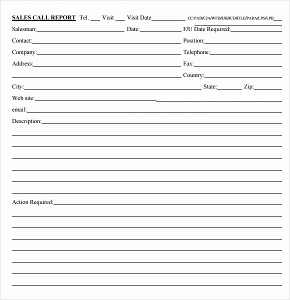 Call Sheets for Sales Reps Luxury 12 Sales Call Report Sample – Free Examples & format