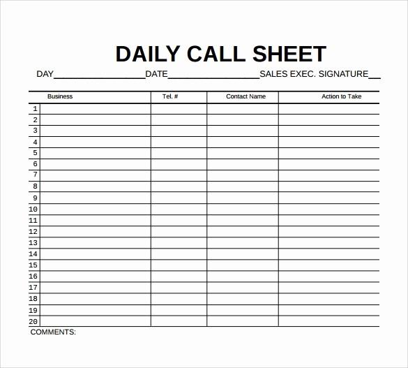 Call Sheets for Sales Reps New 9 Sample Call Sheet Templates