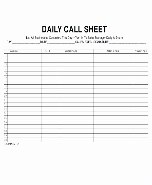 call log sheet template daily sales rep