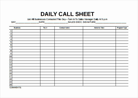 Call Sheets for Sales Reps New Call Sheet Template 23 Free Word Pdf Documents