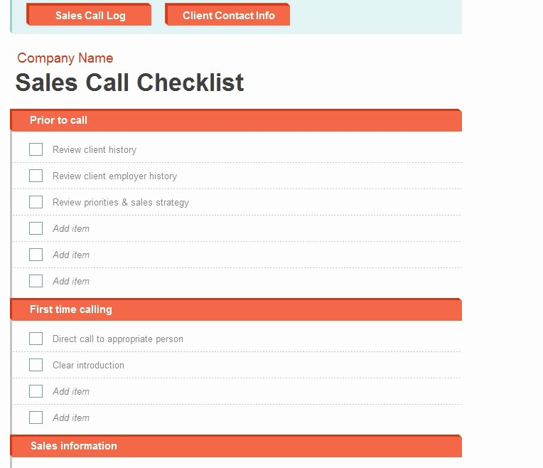 Call Sheets for Sales Reps New Sales Call Log