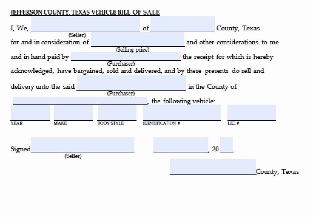 Car Bill Of Sale Word Best Of Free Jefferson County Texas Vehicle Bill Of Sale form