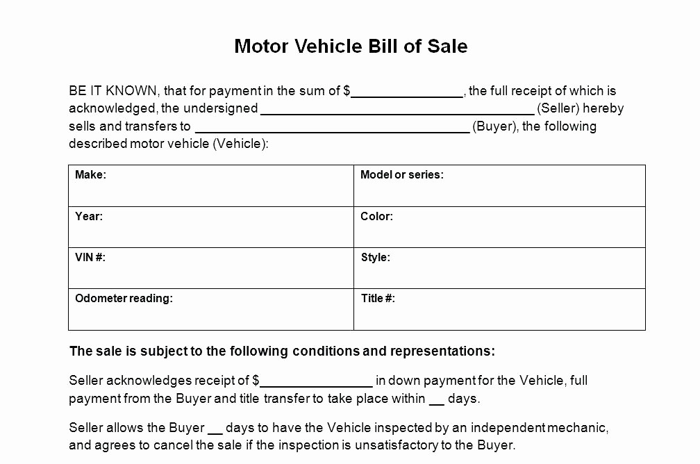 Car Bill Of Sale Word Fresh 15 Generic Bill Of Sale for Car