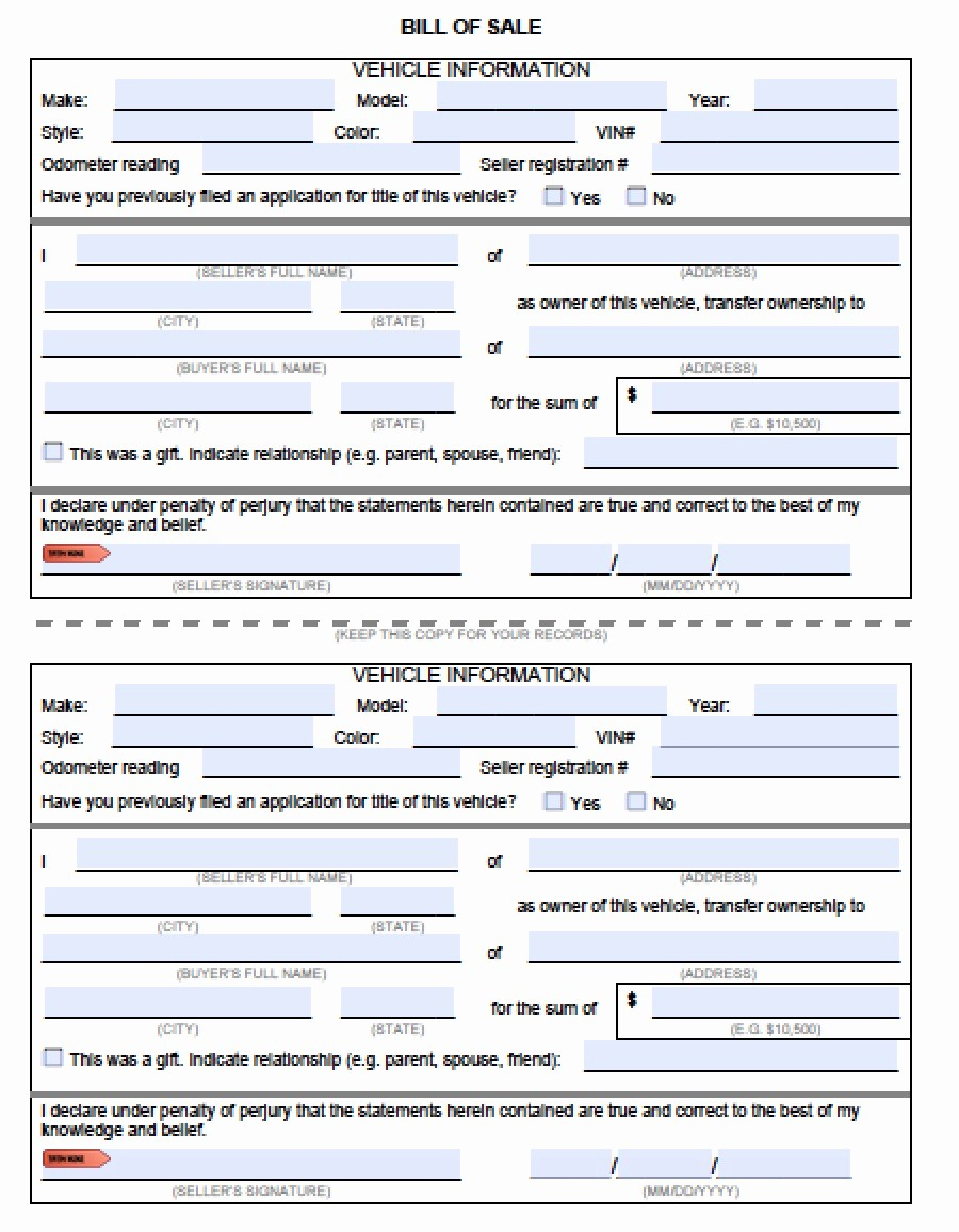 Car Bill Of Sale Word Fresh Download Vehicle Bill Of Sale forms Pdf