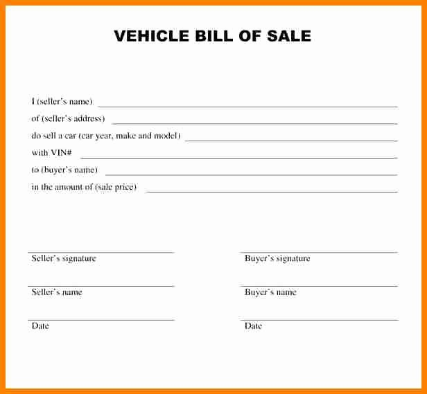 Car Bill Of Sale Word Inspirational 8 Vehicle Bill Of Sale Template Word