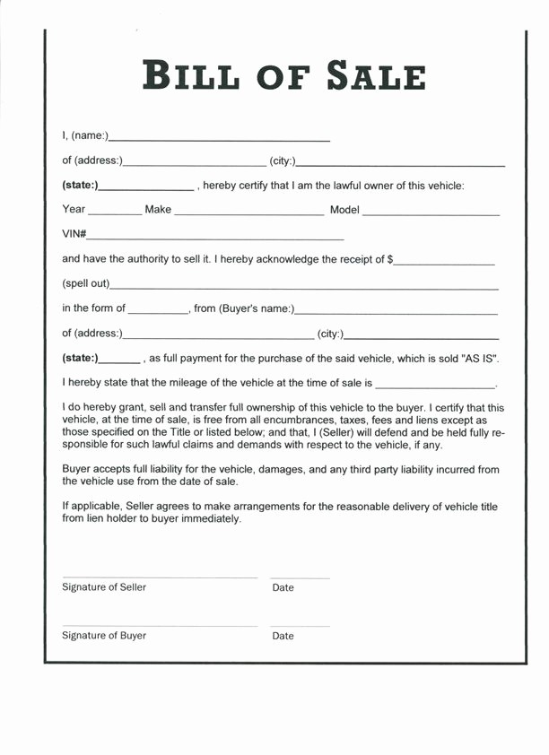 Car Bill Of Sales Template Lovely Free Printable Vehicle Bill Of Sale Template form Generic