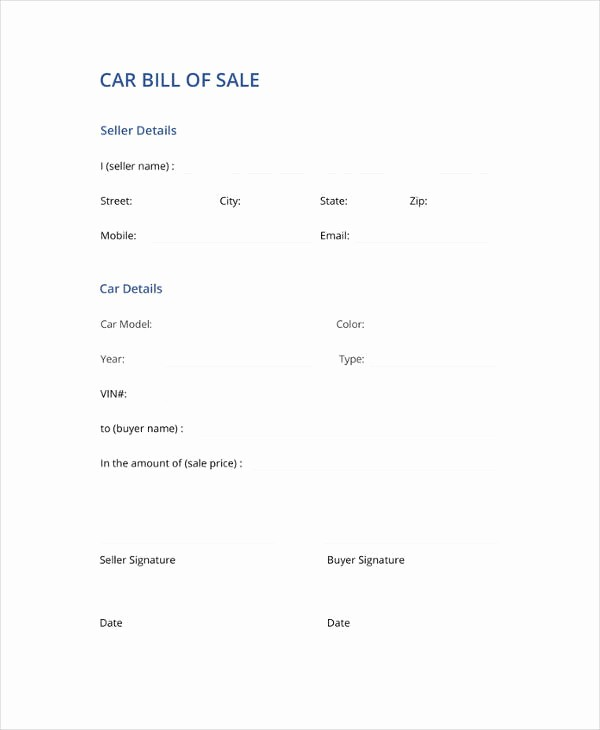 Car Bill Of Sell Template Fresh Bill Of Sale Template 44 Free Word Excel Pdf