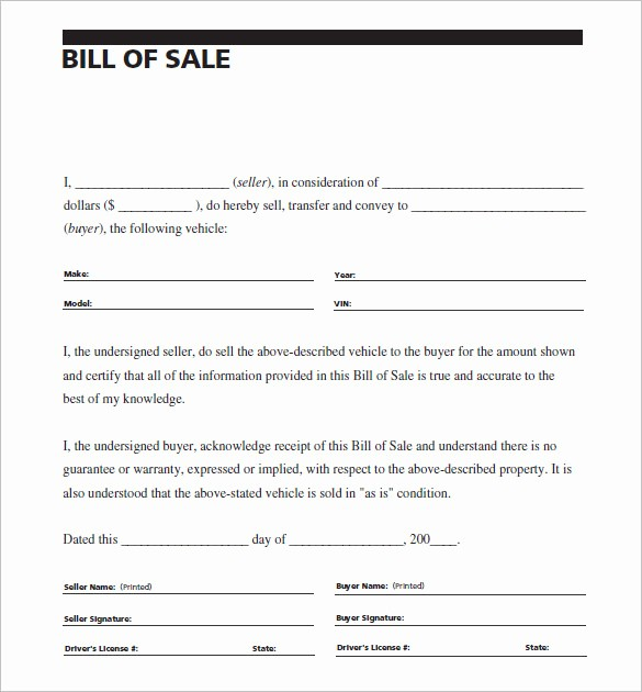 Car Bill Of Sell Template Inspirational 8 Auto Bill Of Sale Doc Pdf