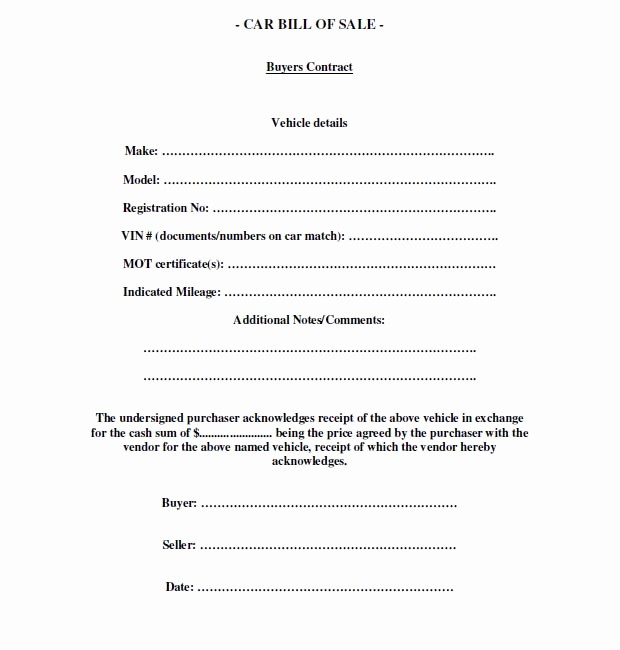 Car Bill Of Sell Template Inspirational Free Printable Free Car Bill Of Sale Template form Generic
