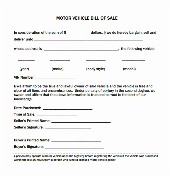 Car Bill Of Sell Template New 14 Sample Vehicle Bill Of Sales – Pdf Word