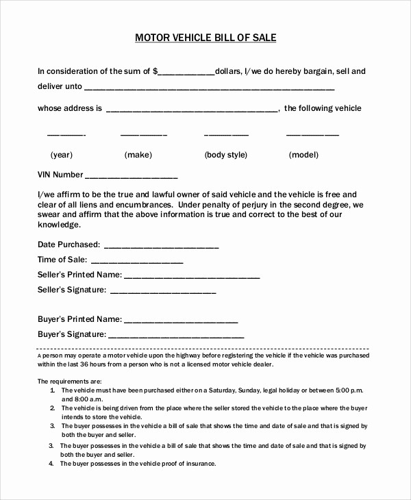 Car Deed Of Sale Pdf Awesome 8 Motorcycle Bill Of Sale Samples