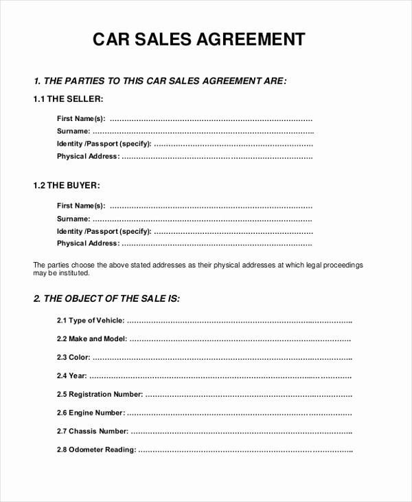 Car Deed Of Sale Pdf Unique Sample Sales Agreement form 10 Free Documents In Pdf Doc