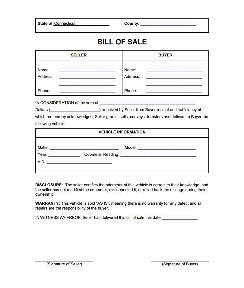 Car Sale as is form Luxury Connecticut Bill Sale