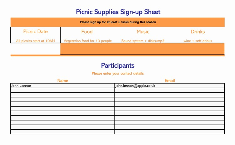 Carpool Sign Up Sheet Template Beautiful 26 Free Sign Up Sheet Templates Excel & Word