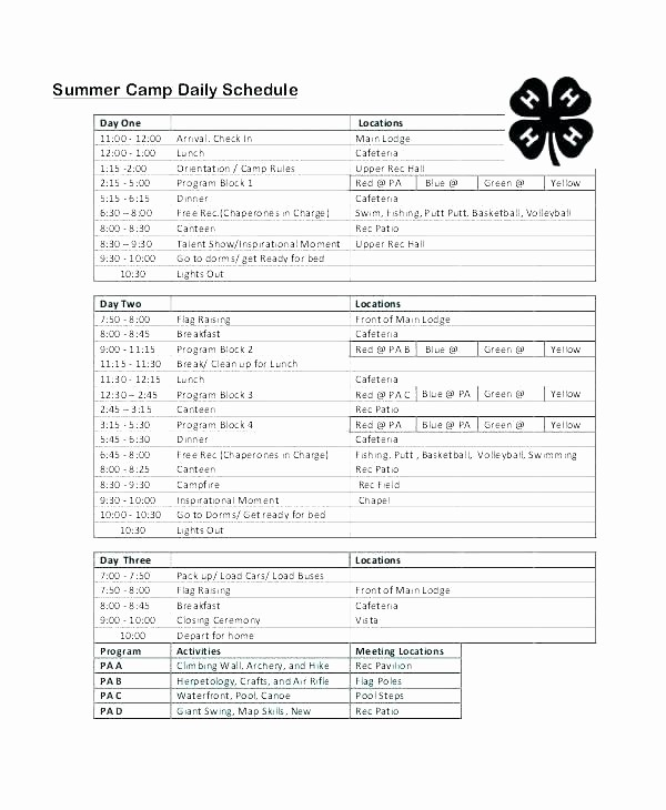 Carpool Sign Up Sheet Template Fresh Pick Up Schedule Template Inspirational Summer Camp Daily