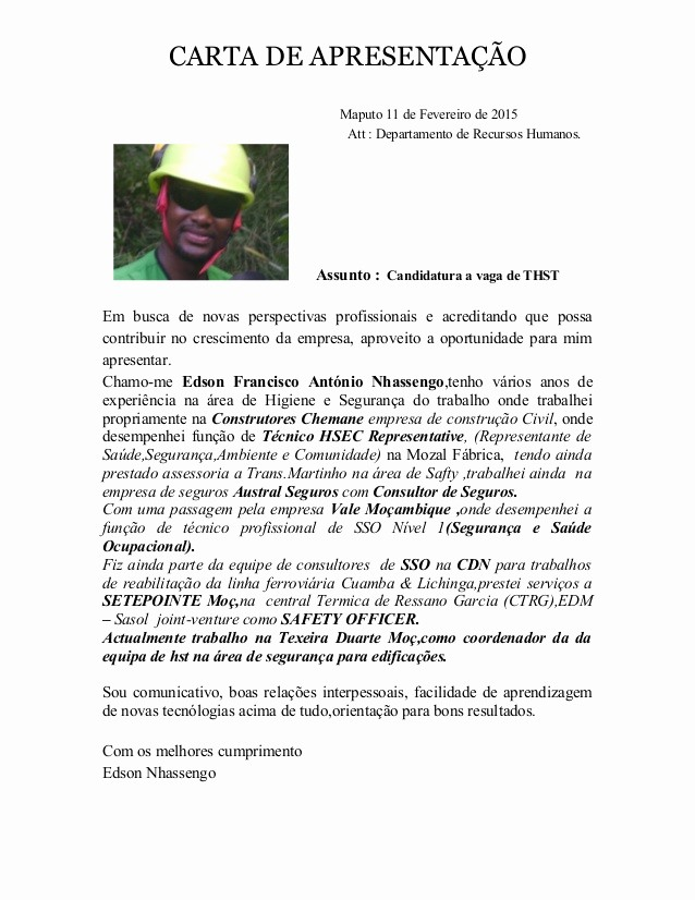 Carta De Apresentação De Empresa Elegant Carta De Apresentacao De Edson Nhassengo 2015
