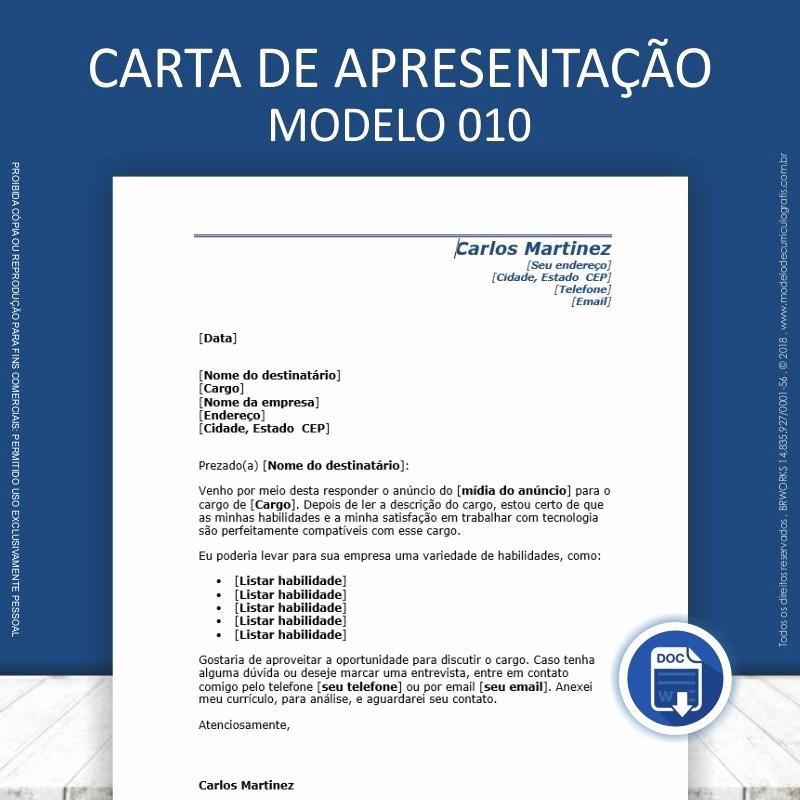 Carta De Apresentação De Empresa Elegant Carta De Apresentação Para Currculo 10 Modelos Prontos