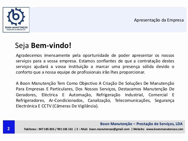 Carta De Apresentação De Empresa Luxury Carta De Apresentação Da Boon Manutenção