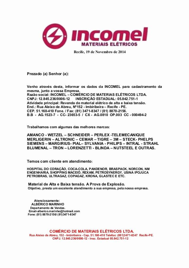 Carta De Apresentação De Empresa Luxury Carta De Apresentação In El Filia Pe