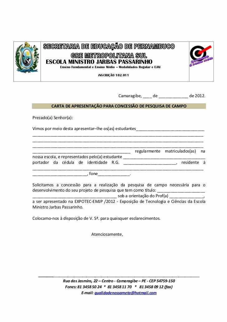 Carta De Apresentação De Empresa Unique Carta De Apresentação Para Pesquisa De Campo