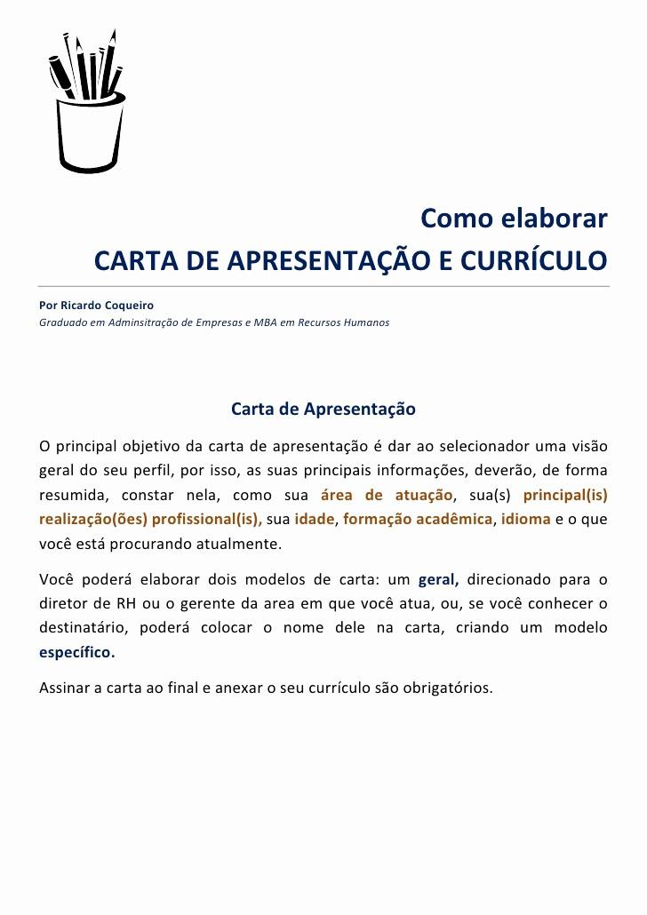 Carta De Apresentação De Empresa Unique O Elaborar Carta De Apresentação E Currculo