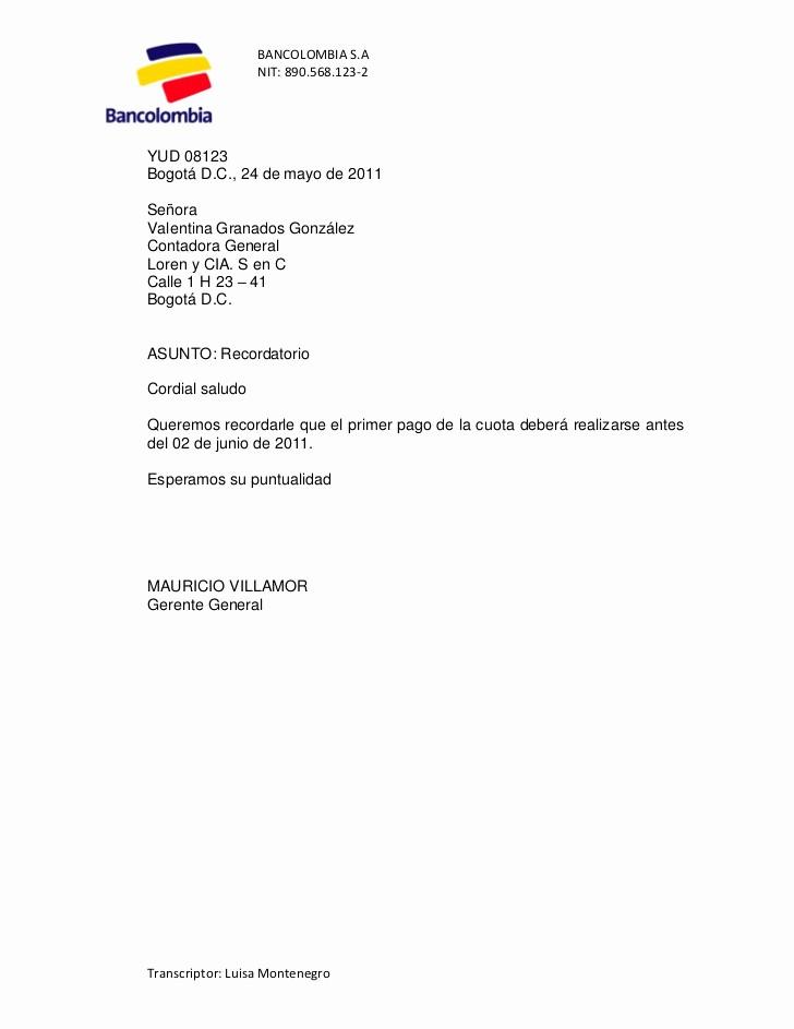 Carta De Cobro De Deuda Awesome Bancolombia Cobro