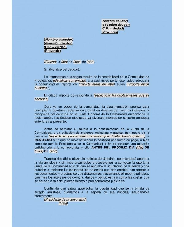 Carta De Cobro De Deuda Awesome Modelo Carta Reclamacion Deuda Personales