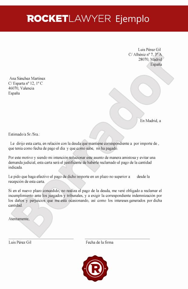 Carta De Cobro De Deuda Beautiful Carta Para Reclamar Deudas Crea Tu Carta De