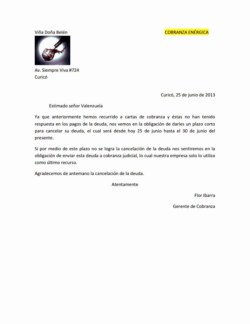 Carta De Cobro De Deuda Elegant Creaciones Flor Correspondencia De Cobranza