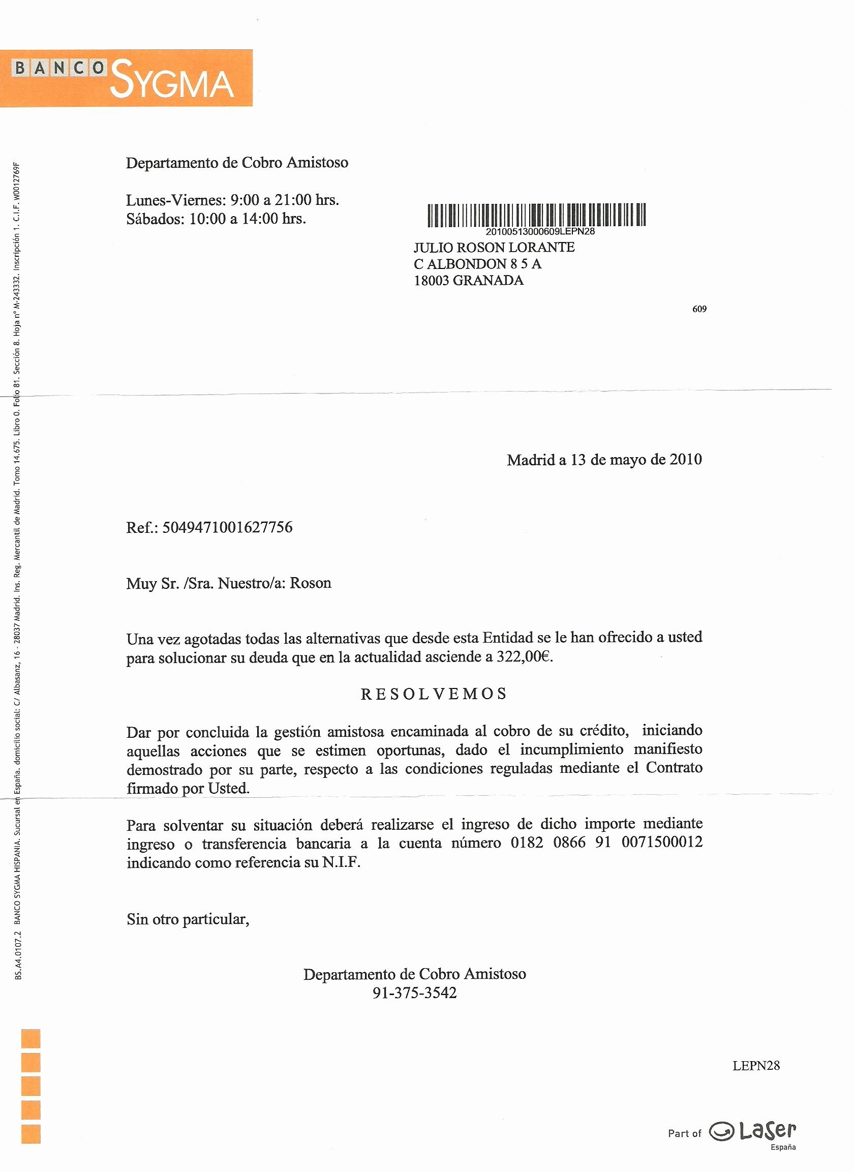 Carta De Cobro De Deuda Inspirational asnef Equifax