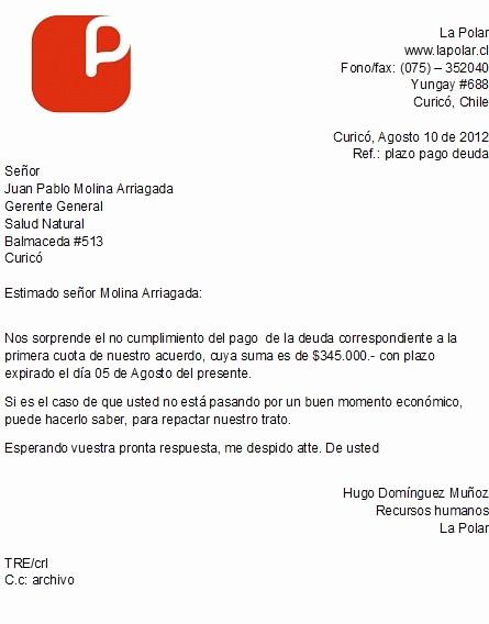Carta De Cobro De Deuda Inspirational Correspondencia De Cobranza